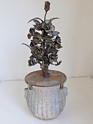 Antique French Concrete Urn with Wrought Iron Flowers  Garden Ornament