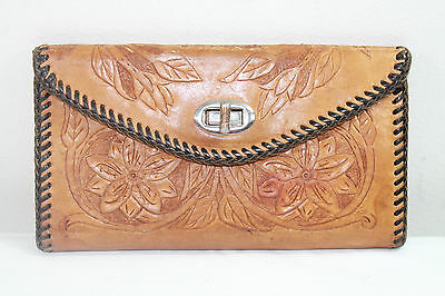 Leather Checkbook Wallet Hand Tooled Vintage Floral Hippy Western