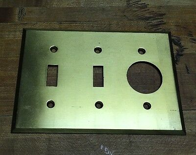 Vintage ANTIQUE BRASS Triple 3  LIGHT SWITCH PLATE COVER With Dimmer NOS