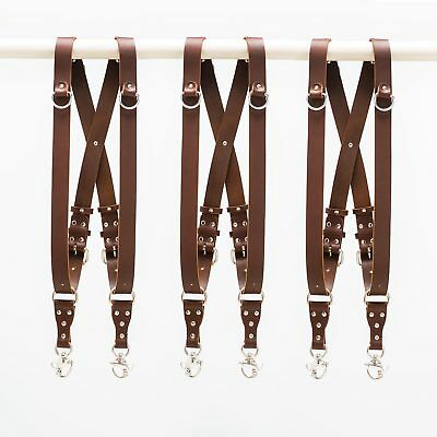 Dual Double Multiple Multi Camera Straps Leather Holdfast Antique Brown
