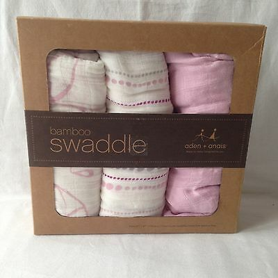 aden and anais bamboo Muslin swaddles/baby wraps pink and white