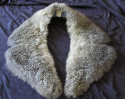 vintage soft thick fur collar for coat or jacket, grey/brown, fabric lined, wide