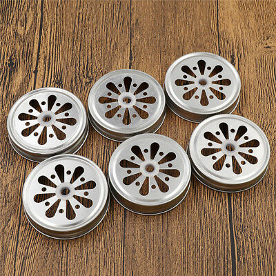 6 x Cut Lid Replacement Mason Bottle Cap Metal Daisy Cover Can Insert Straws