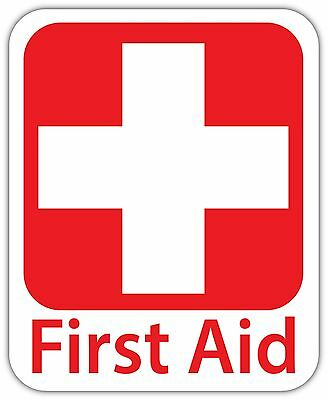Emergency First AID KIT Vinyl Sticker Decal Sign SIZES  Health Safety Red Cross