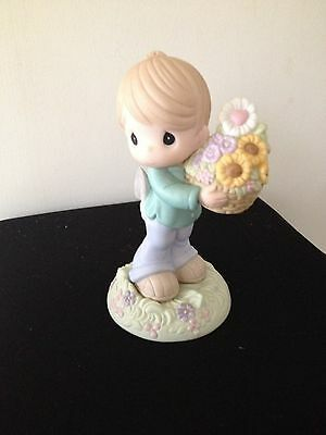 Precious Moments My Love Is Always In Bloom For You Boy Flowers Figurine NWB