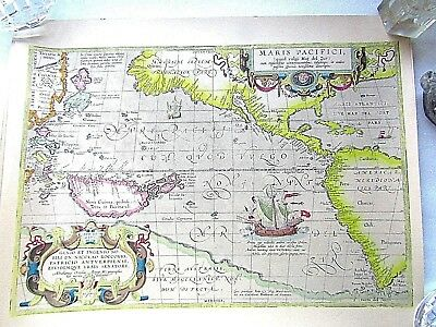 MAP of PACIFIC OCEAN ABRAHAM ORTELIUS 1589 early MAP  PRINT VGC