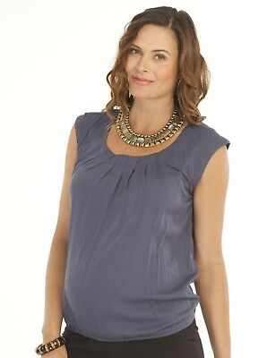 Maternity Round Neck Work Top - Grey Charcoal