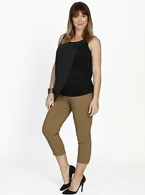 Maternity Cropped Stretchy Pants in Brown