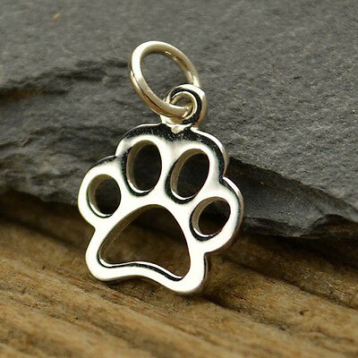 Sterling Silver Dog Paw Charm Necklace Animal Lover Pendant Pets Puppy 1209