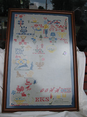 "HUGE, GORGEOUS Antique Sampler ""EKS"" - Professionally Framed"