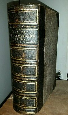 1860s Gallery of Geography TOUR OF THE WORLD Leather Illustrations Maps VG+