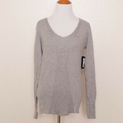 Bloch Gray Knit V-Neck Cut Out Dance Cotton Sweater Top Size S with Thumbholes