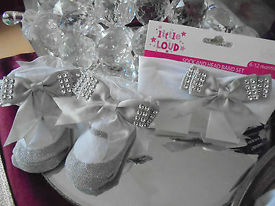Romany Baby Girl Silver Lacy Angel Bling Socks Diamonte Bows 6-12M + Headband