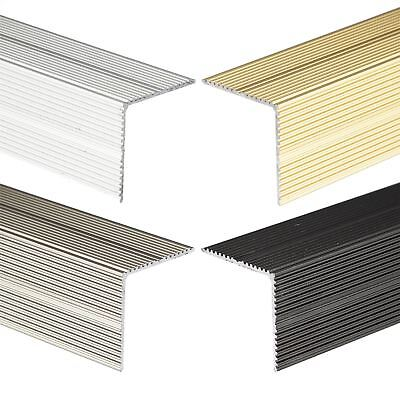 ANODISED ALUMINIUM ANTI NON SLIP STAIR EDGE NOSING TRIM 900mm x 35mm x 35mm A34