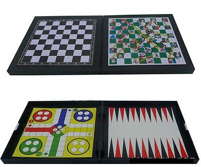 Fold belt magnetic 5 in 1 game Chess Checkers Backgammon Snake & Chess Ludo