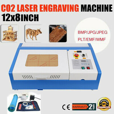 40W CO2 USB Laser Engraving Engraver Cutter Woodworking 300x200mm Movable Wheel