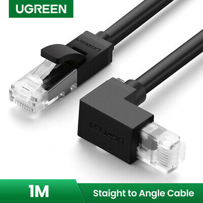 UGREEN Ethernet Patch Cable Cat 6 RJ45 Gigabit Network Cord  Right Angle Black