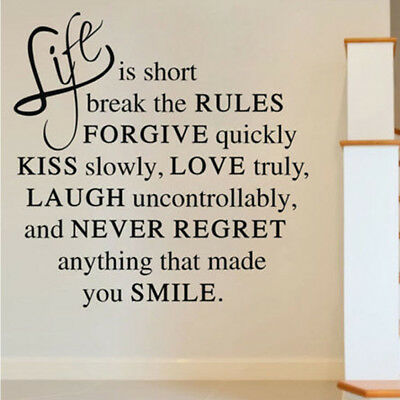 WALL STICKERS! Life Is Short Love Removable Decal Home Art Vinyl Decor Quote