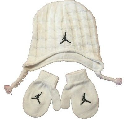 Nike Air Jordan Girls Boys Infant Hat Beanie and Gloves Set Size 2T-4T Months