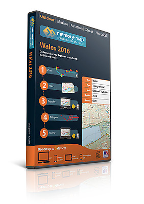 Memory-Map 2016 SD Great Britain OS Explorer Wales 1:25,000 Maps [1019]