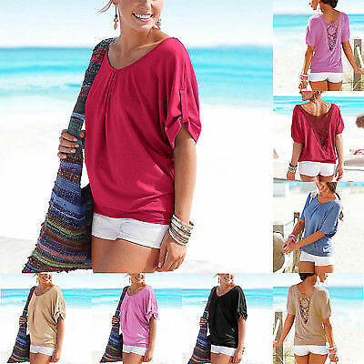 Plus Size Stylish Women Short Sleeve Casual Top Loose Summer T-Shirt Tops Blouse