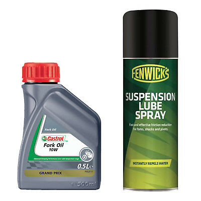 Castrol 10w Mineral Fork Oil - 500ml & Fenwicks Suspension Lube Spray - 200ml