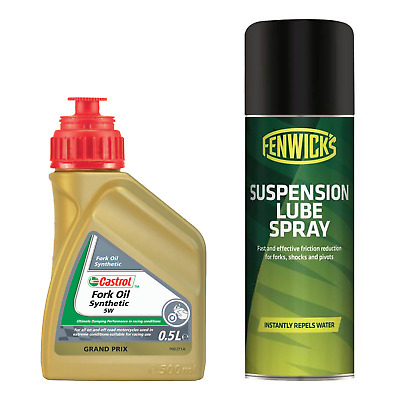 Castrol 5W Synthetic Fork Oil - 500ml & Fenwicks Suspension Lube Spray - 200ml