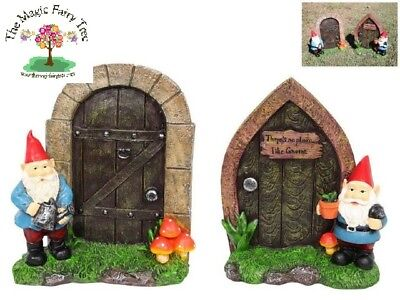 XL Garden gnome figurine door for fairy gardens, tree, cubby - Large