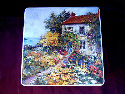 Square biscuit Tin 5cm high X 18 cm wide House and garden on lid Collectable