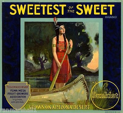 Yuma Arizona Sweetest of Sweet Grapefruit Orange Citrus Fruit Crate Label Print