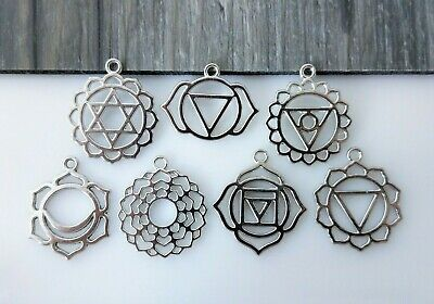 Chakra Symbol Charms Set of 7 - Silver Plated Spiritual Geometry Pendants  CH331