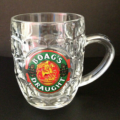 Rare Retro Collectable Boags Draught Beer Mug/Glass