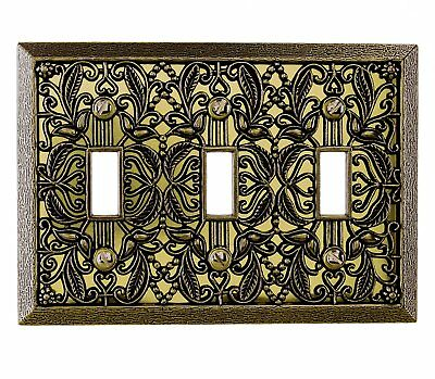 Filigree 3 Toggle Switch Wall Plate Antique Brass Ornate Floral Design Accessory