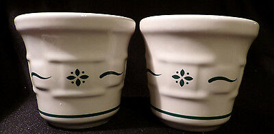 (2) Longaberger Pottery Woven Traditions Heritage Green Votives Candle Holders