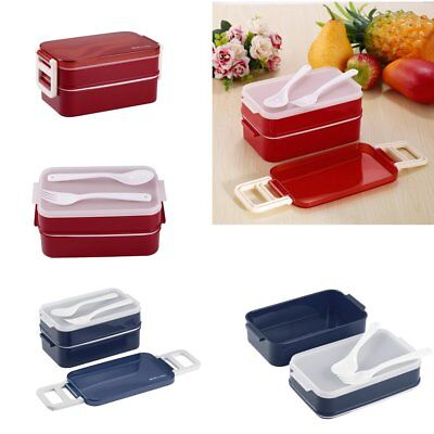 Double Layers Portable Microwave Lunch Box Bento Box Food Containers Lunchbox FG