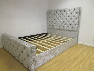 Luxury Chesterfield Style Bed In Crushed Velvet, Size And Color Available