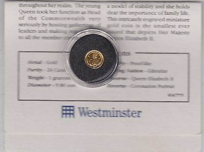 Gibraltar 1993 Gold One Gram Coin In Mint Condition With Certificate