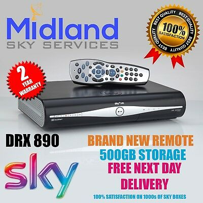 Sky Plus + HD Box, DRX890 500gb Rev 9 Remote,1 Year Warranty Rf1 And Rf2 Ports