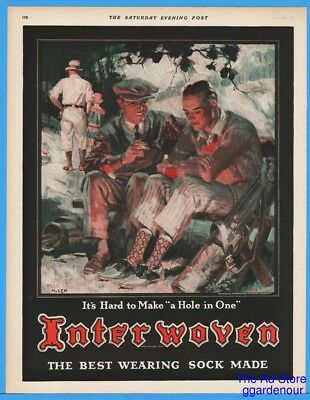 1928 Interwoven Sock Men Sitting On Golf Course Make A Hole In One Fred Mizen Ad