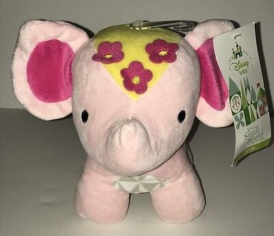 """DISNEY Baby Plush Its A Small World Pink Elephant Rattle Toy NWT 7"""" Tall"""