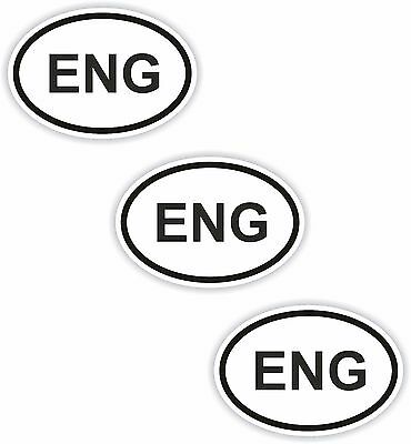 3x Black & White Oval Stickers England Small Country Code Car Bumper Tablet