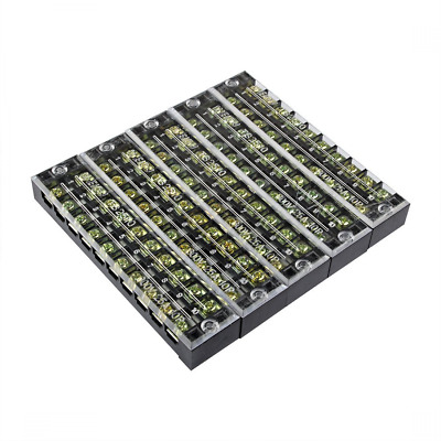 uxcell 5 Pcs 10 Positions Dual Rows 600V 25A Wire Barrier Block Terminal Strip T