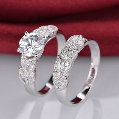 2.1ct Halo Round Cut Cubic Zirconia White Gold Filled Wedding Ring Set Size 5-10