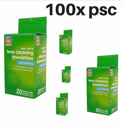 5x boxes Rite Aid Pharmacy Lens Cleaning Towelettes, Premoistened 100 wipes