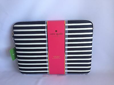 "Nwt Kate Spade New Yok 13"" Laptop Case Sleeve Stripe Fairmont Sew With Tag"