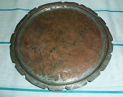 ANTIQUE 19th C OTTOMAN COPPER PLATE TRAY DISH ORNATE -HANDCRAFTED-RARE