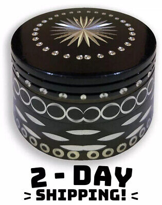 Aztec Pattern LARGE Tobacco Grinder Aluminum Herb/Spice Mini Crusher 4 Piece