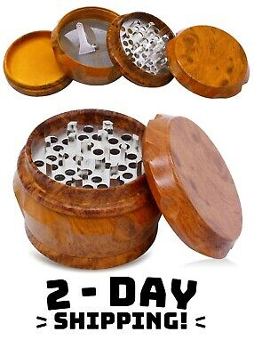 "Luxury Wooden 2.5"" Large Vintage Tobacco Herb/Spice 4 Piece with Magnetic Lid"