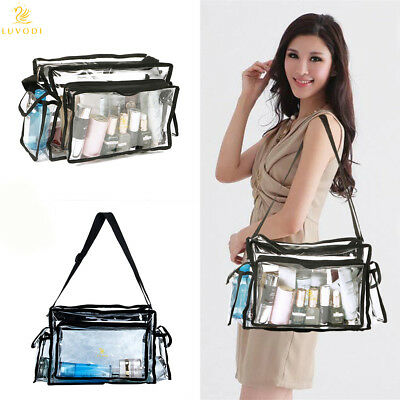 PVC Toiletry Carry Pouch Travel Cosmetic Makeup Organizer Clear Bag Shoulder Bag