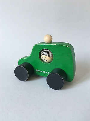 "Vintage NAEF Wooden Toys - ""SWISS-CAR-2"" Green - Swiss Design"
